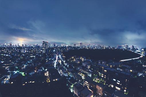 東京都中央区「東京の夜間のアリエルのイメージ」:スマホ壁紙(12)