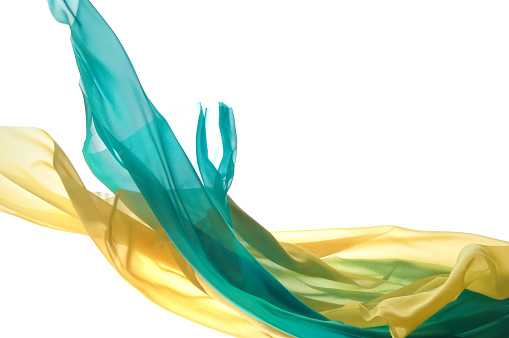 Two Objects「Waving turquoise and yellow silk」:スマホ壁紙(8)