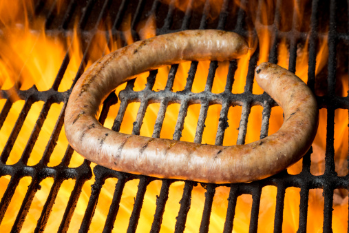Hot Dog「German Sausage on Grill with Flames」:スマホ壁紙(9)
