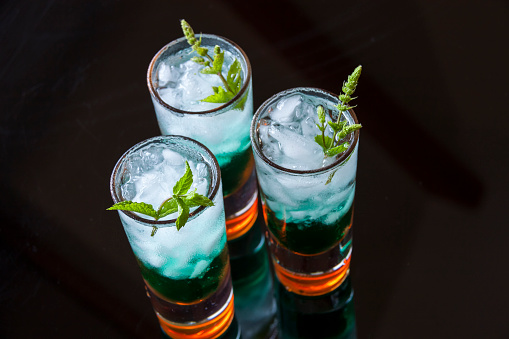 Liqueur「Fresh cocktail with mint liqueur in glasses」:スマホ壁紙(17)