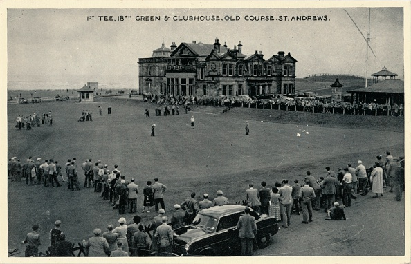 Green - Golf Course「1st Tee, 18th Green & Clubhouse, Old Course, St. Andrews', c1955」:写真・画像(0)[壁紙.com]