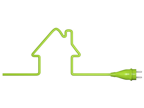 Power Cable「Green energy, house with cable and plug」:スマホ壁紙(4)