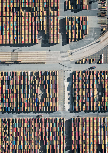 Freight Transportation「Container Terminal and rails, aerial view」:スマホ壁紙(7)