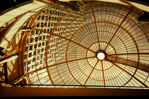 Sepia Toned「Modern Office Building Seen Through Glass Roof」:スマホ壁紙(17)