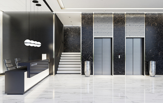 Motel「Modern Offices lobby interior area with elevators and stairs and with long reception desk」:スマホ壁紙(14)