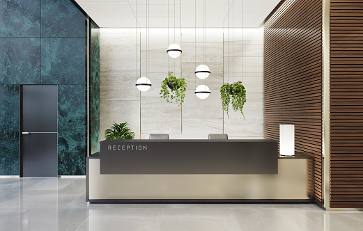 Motel「Modern Offices lobby interior area with elevators and stairs and with long reception desk」:スマホ壁紙(3)