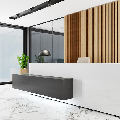 Motel「Modern Office lobby interior with long wooden planks background and reception desk」:スマホ壁紙(12)