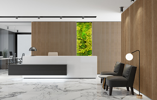 Motel「Modern Office lobby interior with long wooden planks background and reception desk with green Eco plant moss wall」:スマホ壁紙(16)