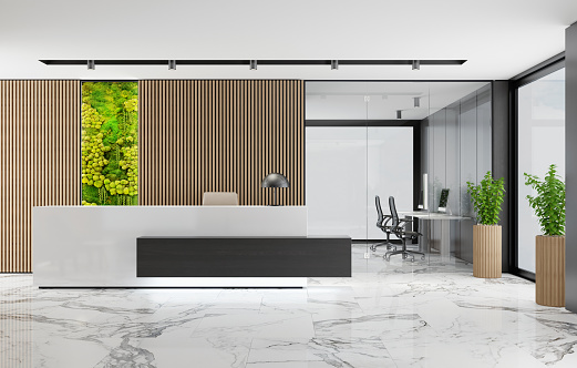 Motel「Modern Office lobby interior with long wooden planks background and reception desk with green Eco plant moss wall」:スマホ壁紙(10)