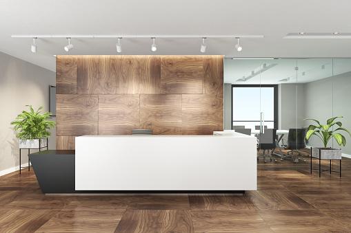 Lobby「Modern office interior with big white desk」:スマホ壁紙(4)