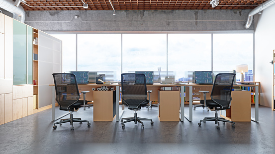 Human Settlement「Modern office interior with cityscape background」:スマホ壁紙(7)