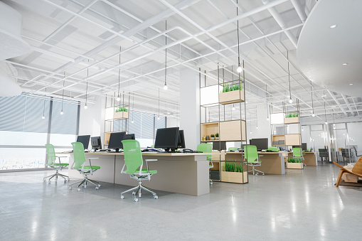 Green Color「Modern Office Interior」:スマホ壁紙(19)