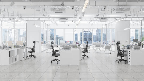 Modern Office Space With Waiting Room, Board Room And Cityscape Background:スマホ壁紙(壁紙.com)
