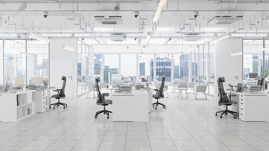 Empty「Modern Office Space With Waiting Room, Board Room And Cityscape Background」:スマホ壁紙(15)