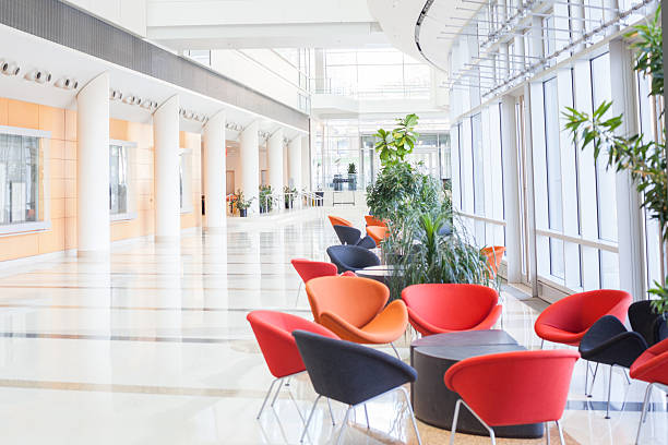Modern office lobby with colorful seats:スマホ壁紙(壁紙.com)