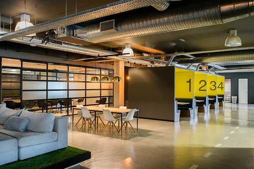 South Africa「Modern office open plan meeting space and cubicles」:スマホ壁紙(13)