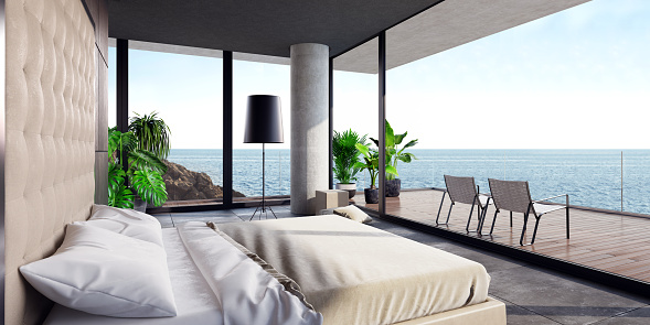 Glamour「Modern luxurious bedroom with large terrace in a villa by the ocean」:スマホ壁紙(19)