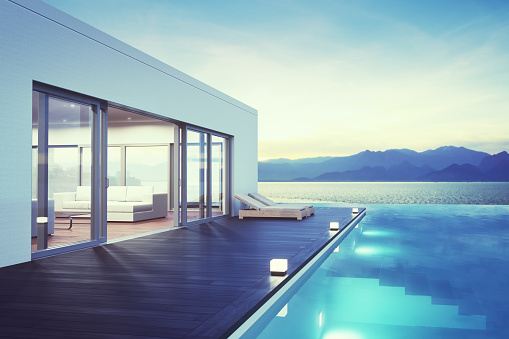Infinity Pool「Modern Luxury House With Pool At Dawn」:スマホ壁紙(3)