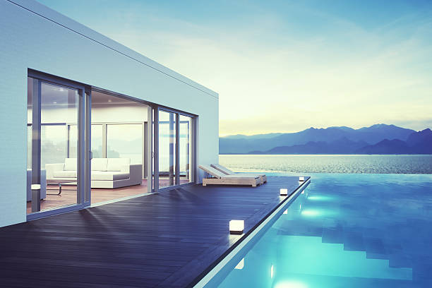 Modern Luxury House With Pool At Dawn:スマホ壁紙(壁紙.com)