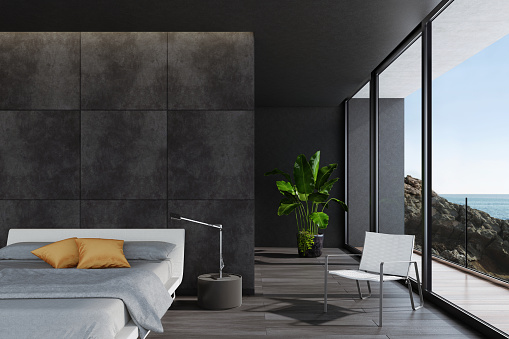 Black Color「Modern luxurious black bedroom in a villa by the ocean」:スマホ壁紙(17)