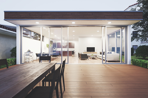 Building night view「Modern Luxury Home Showcase Patio」:スマホ壁紙(11)