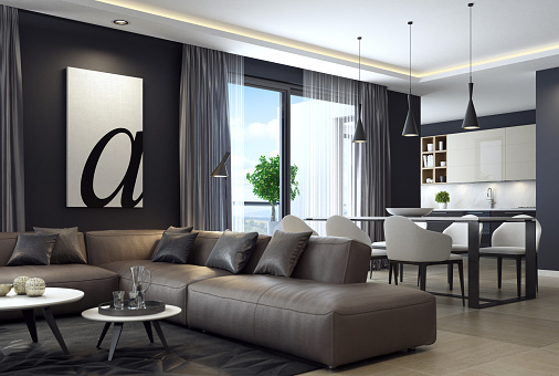 Home Interior「Modern luxury black style apartment with leather sofa」:スマホ壁紙(4)