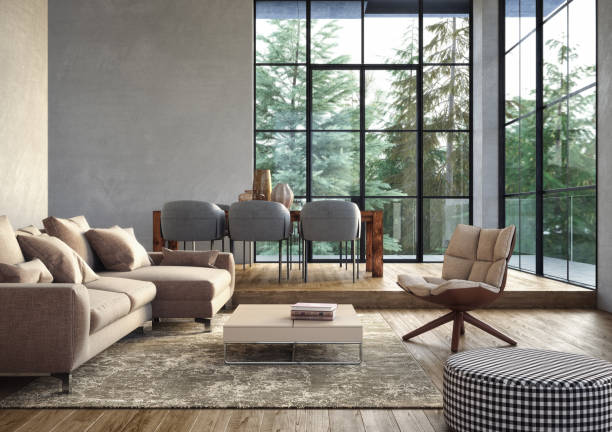 Modern luxury living room interior - 3d render:スマホ壁紙(壁紙.com)