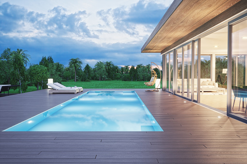 Swimming pool「Modern Luxury House With Swimming Pool At Dawn」:スマホ壁紙(14)