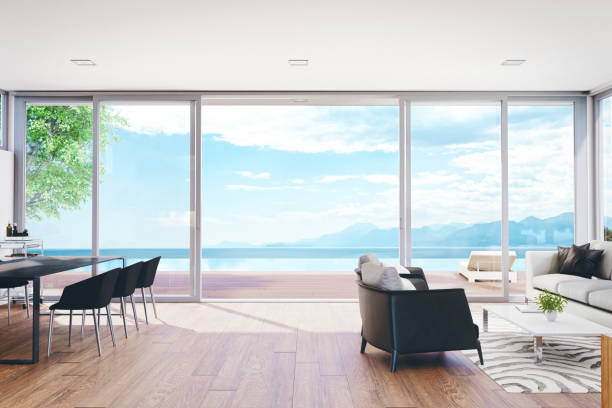 Modern Luxury Living Room With Pool And Ocean View:スマホ壁紙(壁紙.com)