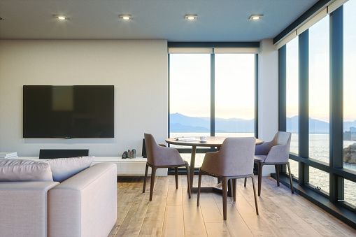 Villa「Modern Luxury Living Room With Ocean View At Sunset」:スマホ壁紙(3)