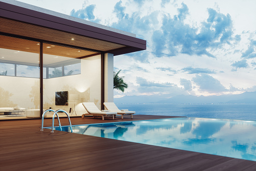Outdoor Chair「Modern Luxury House With Infinity Pool At Dawn」:スマホ壁紙(6)
