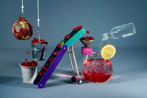 Efficiency「Conceptual vodka pomegranate cocktail production line」:スマホ壁紙(4)