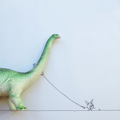 Cartoon「Conceptual fantasy character taking dinosaur for walk」:スマホ壁紙(16)