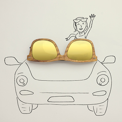 Illustration「Conceptual woman in a convertible car」:スマホ壁紙(14)