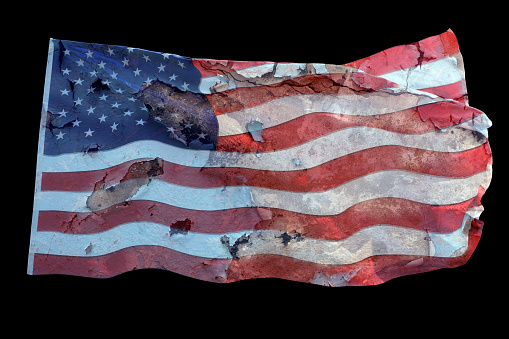 Fourth of July「Conceptual grunge style waving damaged American flag isolated over black」:スマホ壁紙(7)