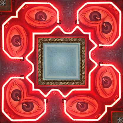 Eyesight「Conceptual abstract view of an old vintage neon optometrist glowing eyeglass sign with multiple stylized decal eyes in a frame.」:スマホ壁紙(11)