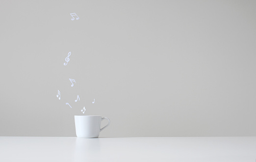 Humor「Conceptual music notes floating from white cup」:スマホ壁紙(6)