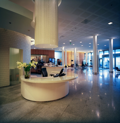 Hotel Reception「Hotel Reception Lobby Area with Lounge」:スマホ壁紙(7)