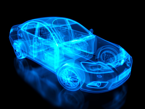 Scientific Imaging Technique「Neon anatomy of an automobile on black background」:スマホ壁紙(2)