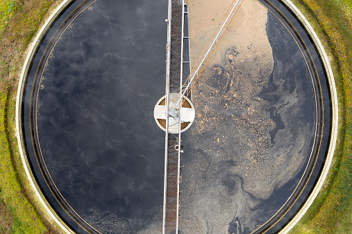 Ecosystem「Clarifier at wastewater treatment plant, aerial view」:スマホ壁紙(13)