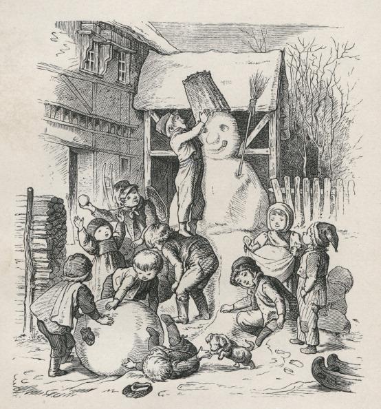 雪だるま「Children Build A Snowman. Steel Engraving From: Oscar Pletsch. Jahr Ein Jahr Aus Im Elternhaus. 1861. Dresden. Verlag Von J.H. Richter.」:写真・画像(6)[壁紙.com]
