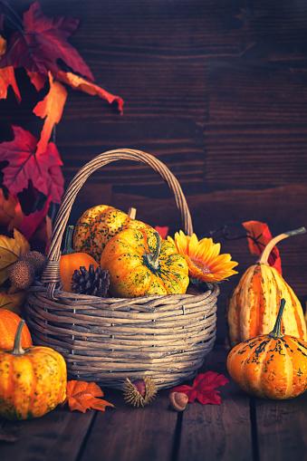 葉・植物「装飾の秋のバスケット」:スマホ壁紙(9)