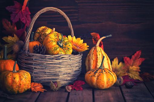 葉・植物「装飾の秋のバスケット」:スマホ壁紙(10)