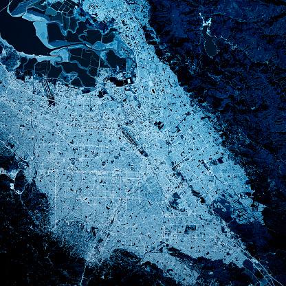 Digital Composite「San Jose California 3D Render Map Blue Top View Mar 2019」:スマホ壁紙(16)