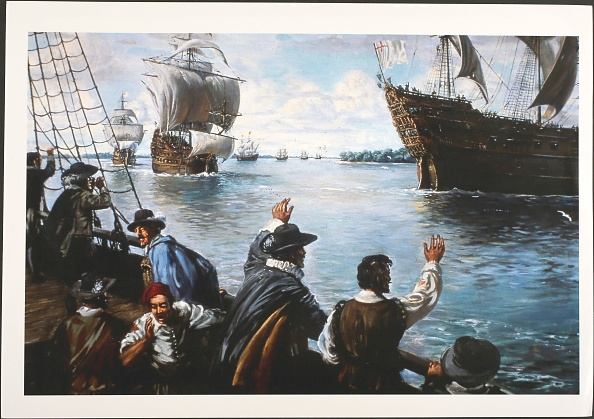 Jamestown - Virginia「After a winter of famine and disease, the inhabitants of Jamestown in Virginia are relieved to witness the arrival of supply ships bringing new settlers and provisions to the stricken town, Jamestown, Virginia, circa 16100601」:写真・画像(8)[壁紙.com]