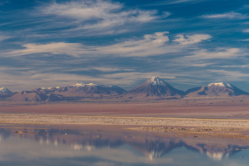 Vibrant Color「Laguna Chaxa, Atacama Salt Flats and snow-capped volcanoes in the background, in turn reflected in the lake near San Pedro de Atacama, Chile」:スマホ壁紙(14)