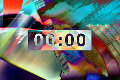 Quantum Computing「Clock on abstract background」:スマホ壁紙(17)