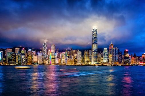 Hong Kong「Hong Kong financial district at twilight」:スマホ壁紙(18)