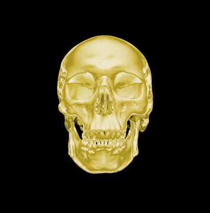 ドクロ「Gold human skull on a black background」:スマホ壁紙(19)