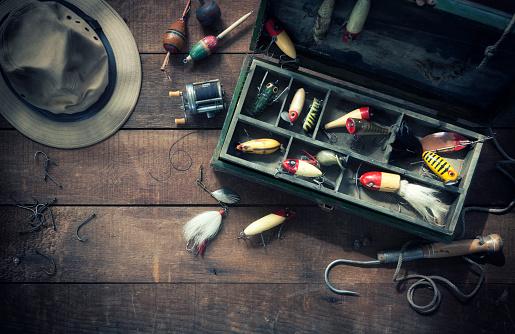 Rod「Vintage Fishing Tackle Background」:スマホ壁紙(19)